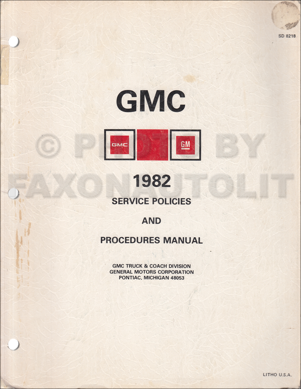 1982 Gmc And Chevy Medium Heavy Duty Truck Data Book Canadian 1966 Wiring Rpo Policies Procedures Manual Original
