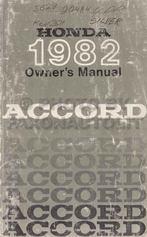 1982 Honda Accord Owner's Manual Original