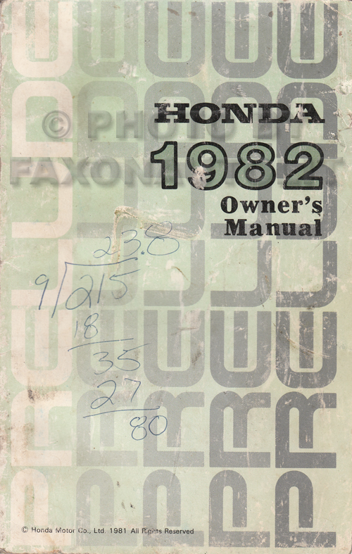 1982 Honda Prelude Owner's Manual Original