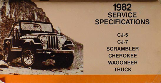 1982 Jeep Service Specifications Manual Original