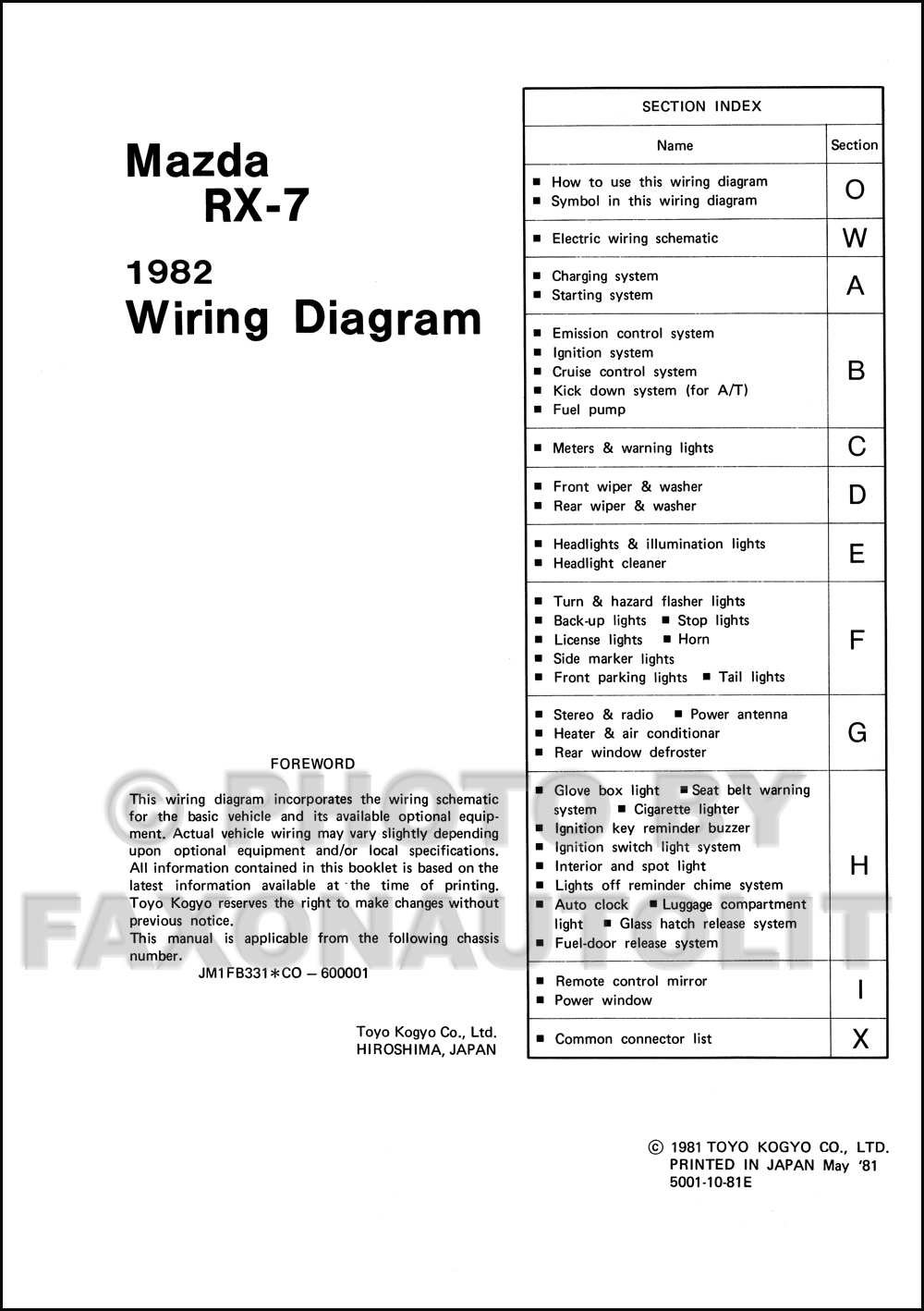 Mazda Rx 7 Stereo Wiring Diagram Seat Belt Light 1982 Manual Original Rx71982