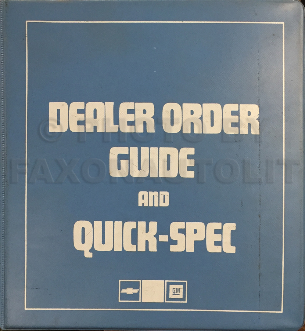 1983 Chevrolet Order Guide Dealer Album Original
