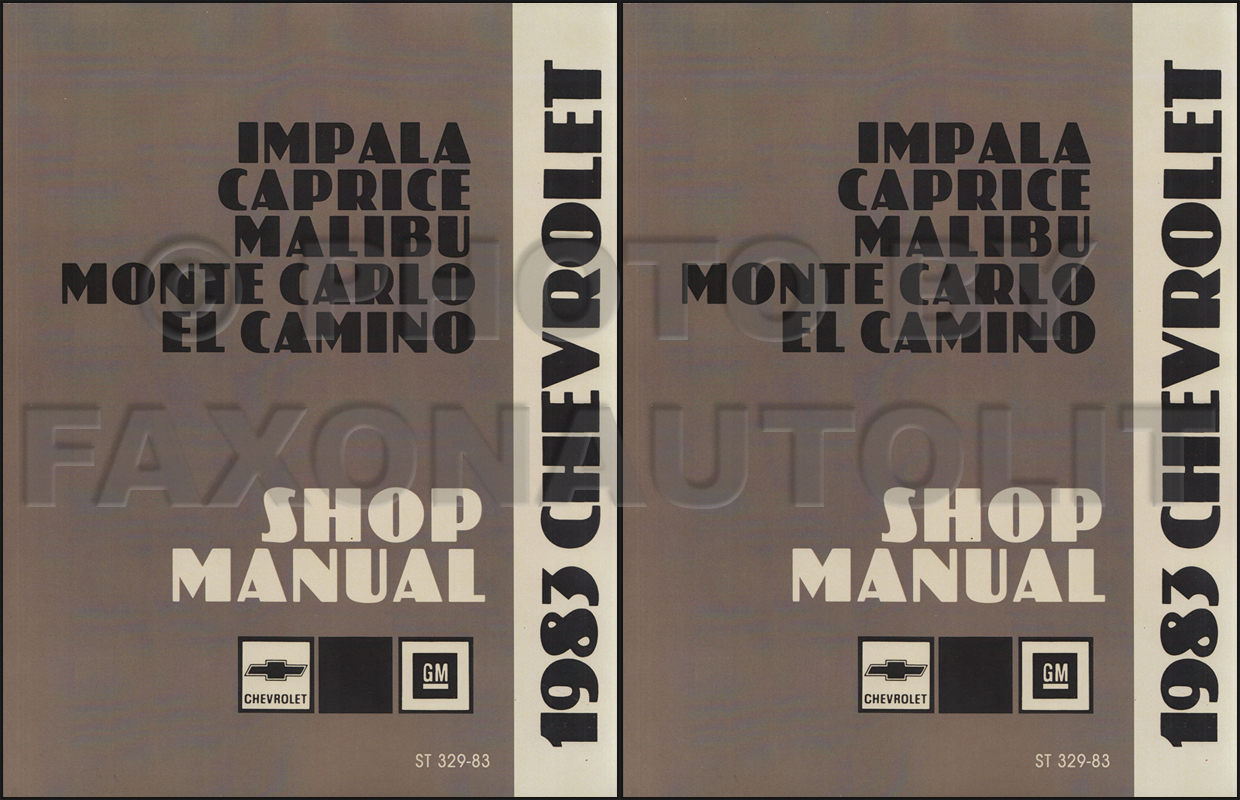 1983 Chevy Repair Shop Manual Reprint Impala Caprice Malibu Monte Carlo El Camino Set