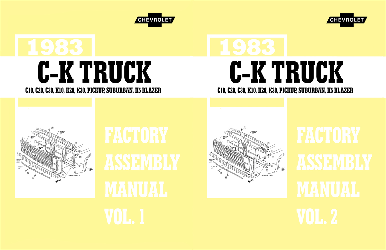 1983 Chevy CK Truck Assembly Manual Reprint Pickup Suburban Blazer also GMC