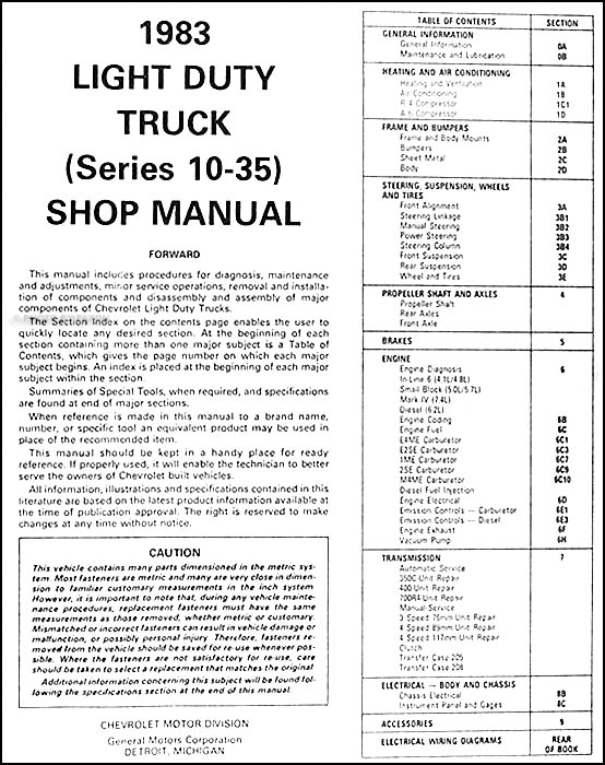1983 Chevrolet Truck Repair Shop Manual Original Pickup