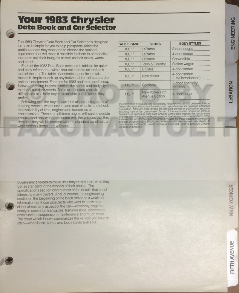 1983 Chrysler Data Book Original