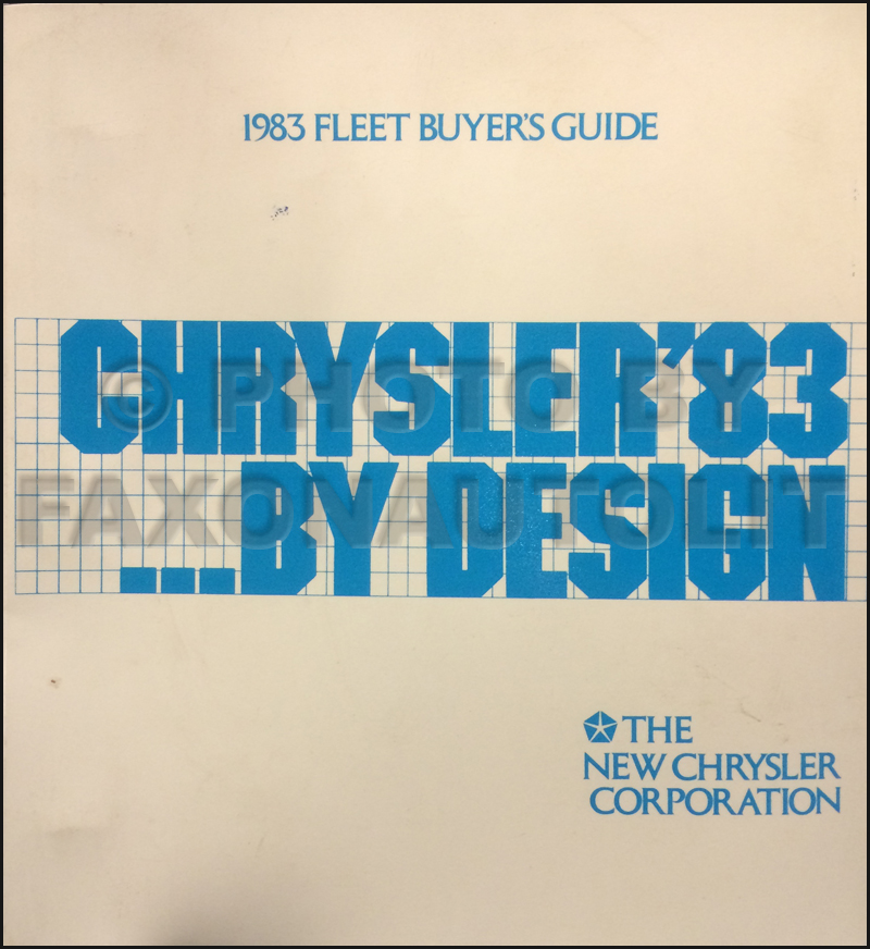 1983 Chrysler Plymouth Dodge Fleet Buyer's Guide Original