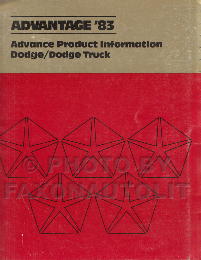 1983 Dodge Advance Product Information Original Dealer Album