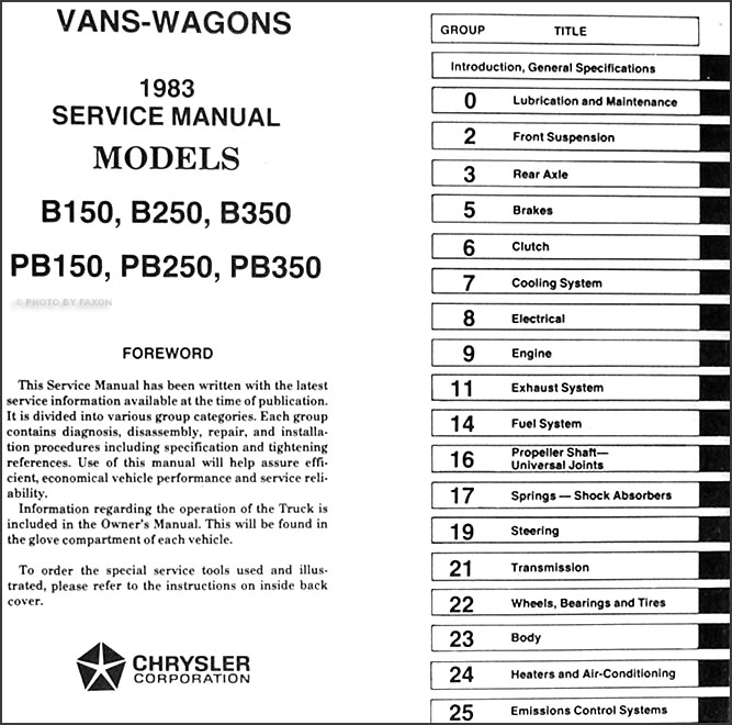 1983 Dodge Ram Van  Voyager  U0026 Wagon Repair Shop Manual