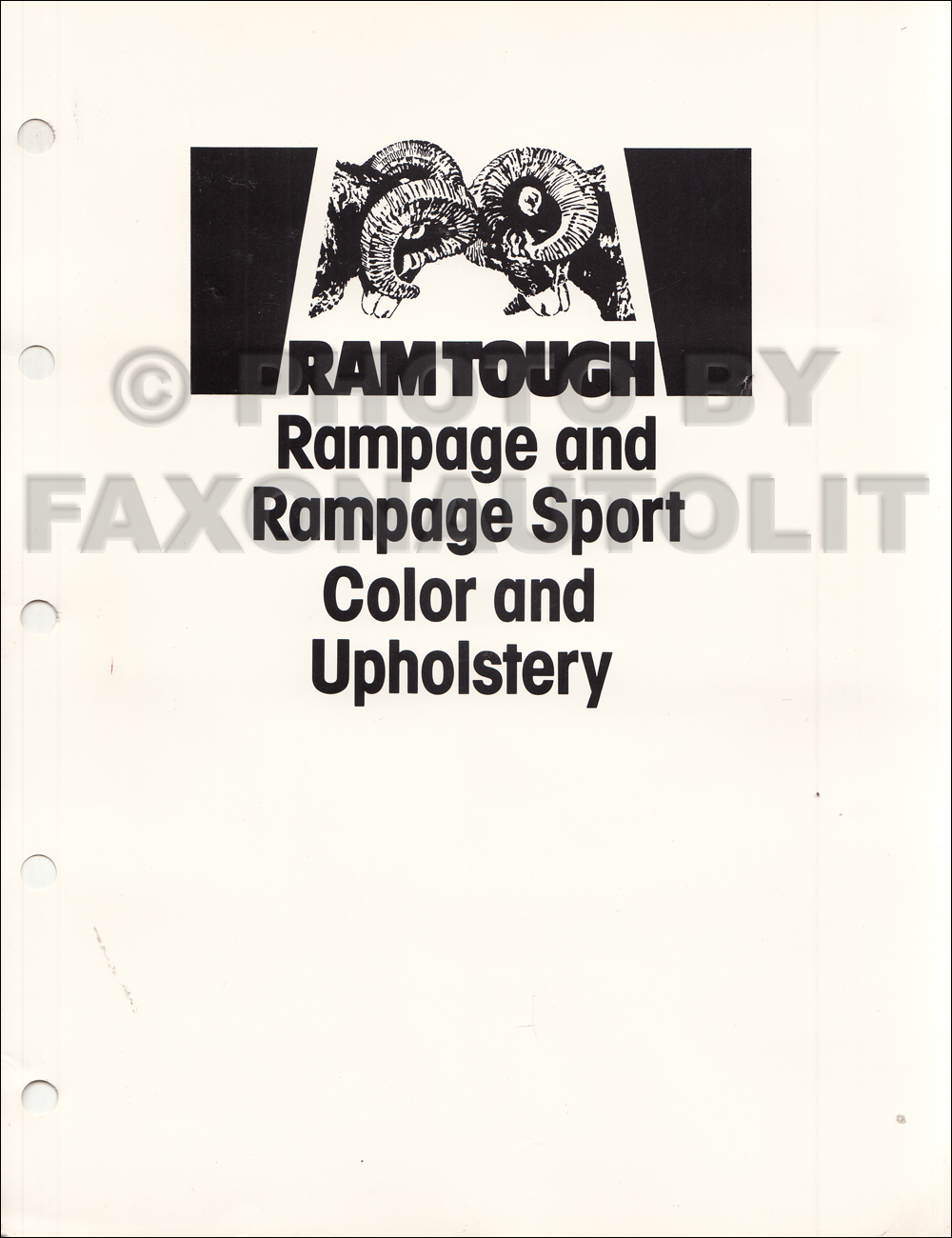 1983 Dodge Rampage Color & Upholstery Dealer Album Original