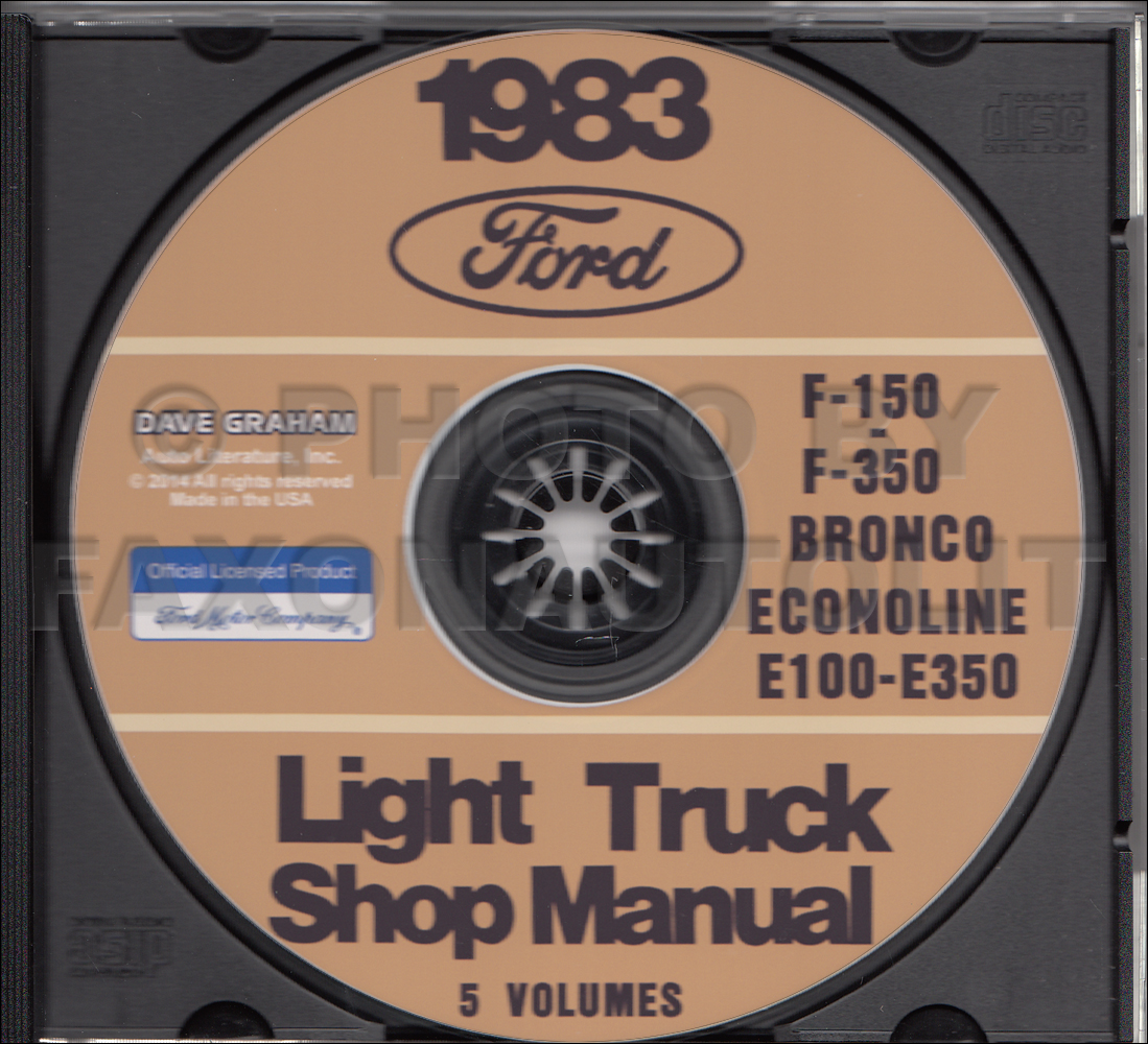 1983 Ford Econoline Van And Club Wagon Foldout Wiring Diagram Also 1941 Pickup On Truck Cd Repair Shop Manuals 83 F150 350 Bronco