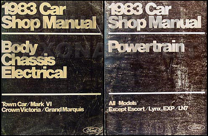 1983 FoMoCo Original Repair Manual Vols A & D Crown Victoria, Town Car & Mark VI, Grand Marquis