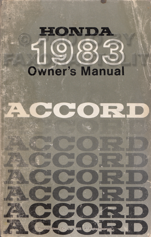 1983 Honda Accord Owner's Manual Original