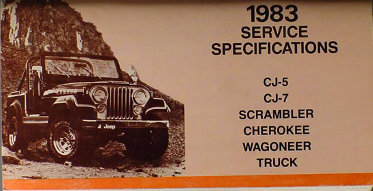 1983 Jeep Service Specifications Manual Original