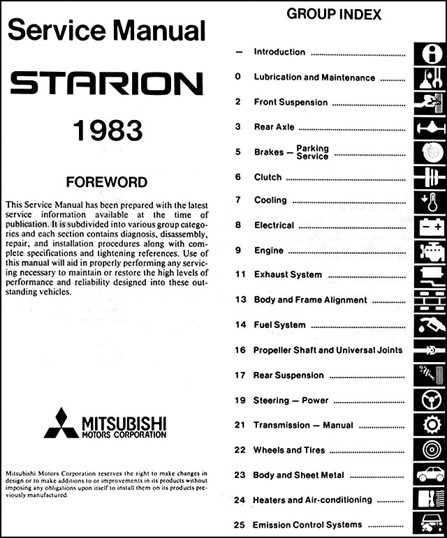 1983 Mitsubishi Starion Repair Shop Manual Original