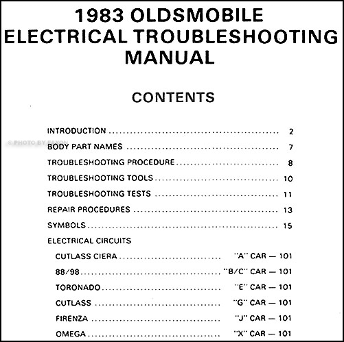 1983 oldsmobile electrical troubleshooting manual original all cars 1982 Oldsmobile 98