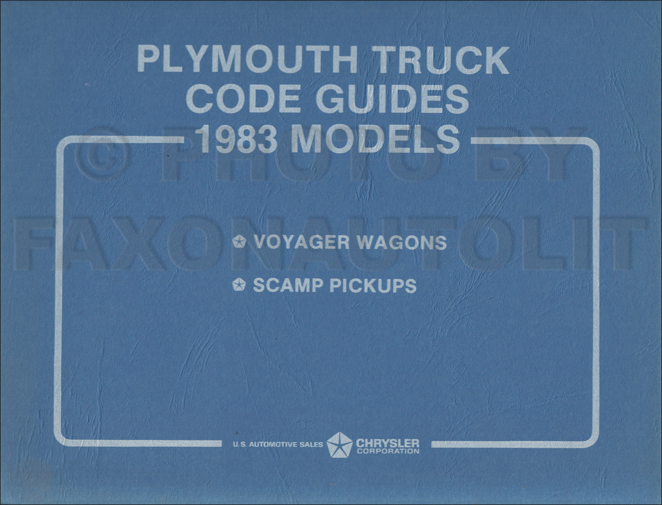 1983 Plymouth Truck Ordering Code Guide Original