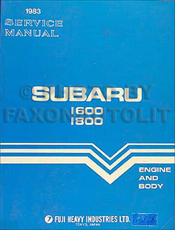 1983 Subaru Repair Manual Original