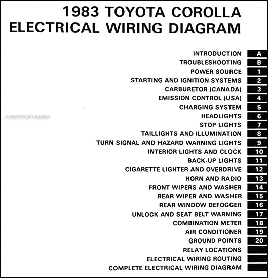 1983 toyota corolla wiring diagram manual original rh faxonautoliterature com 1999 Toyota Corolla Wiring Diagram AC Diagram for 2009 2011 Toyota Corolla