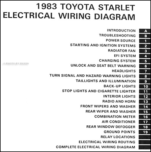 1983 Toyota Starlet Wiring Diagram Manual Original