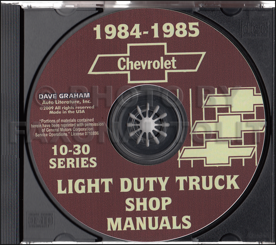 1984-1985 Chevrolet Truck Shop Manuals CD Pickup Blazer Suburban Van FC
