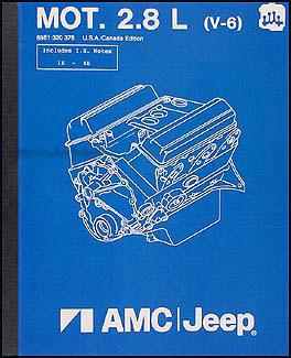 1984-1986 Jeep 2.8L  6 Cylinder Engine Overhaul Manual Reprint