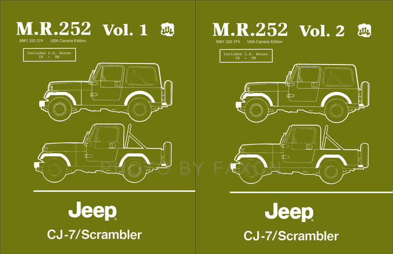 1984-1986 Jeep CJ-7 & Scrambler Shop Manual Reprint 2 Vol. Set M.R.252