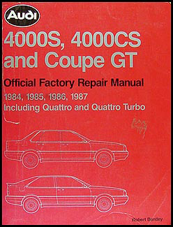 1984-1987 Audi  4000S, 4000CS, and Coupe GT Repair Manual