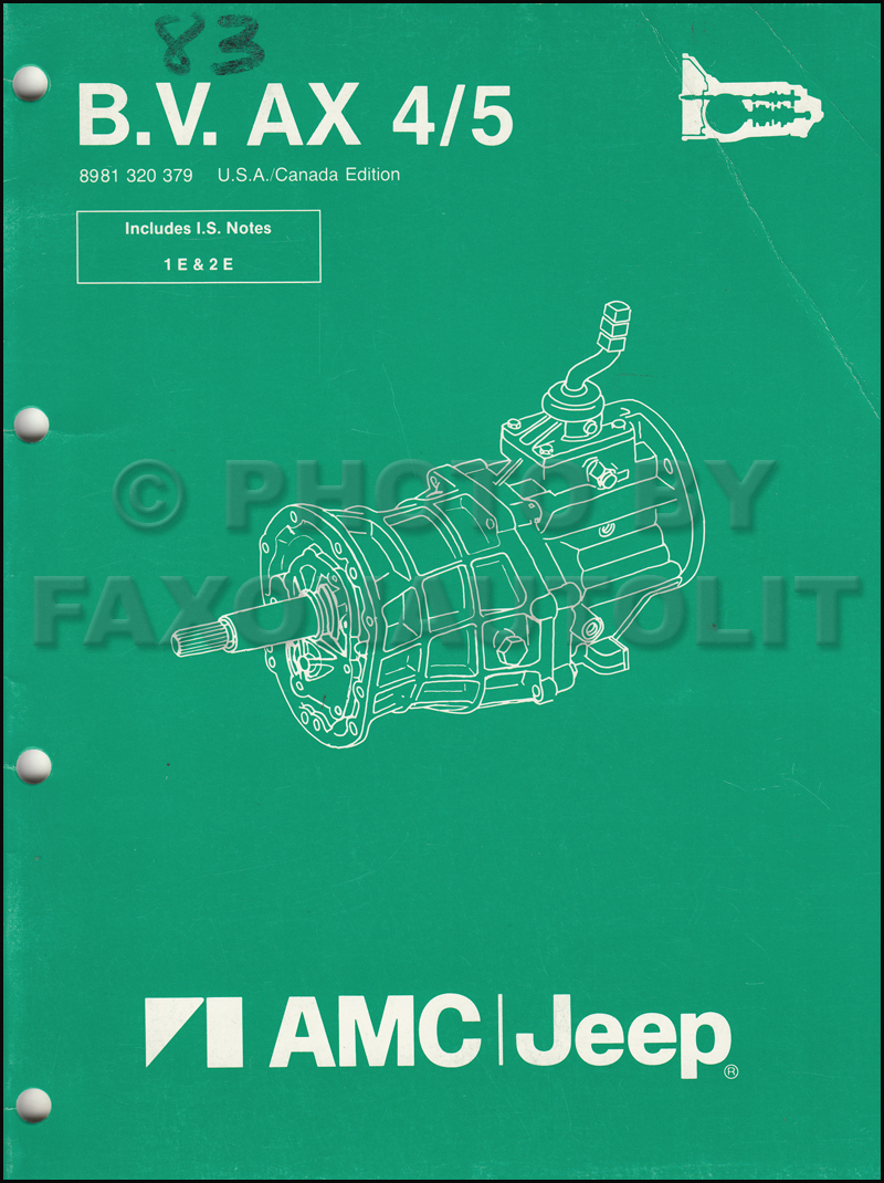 Amc And Jeep Transmissions 1984 1987 Manual Transmission Overhaul Reprint Bv Ax 4 5 Original Cherokee Wagoneer Comanche