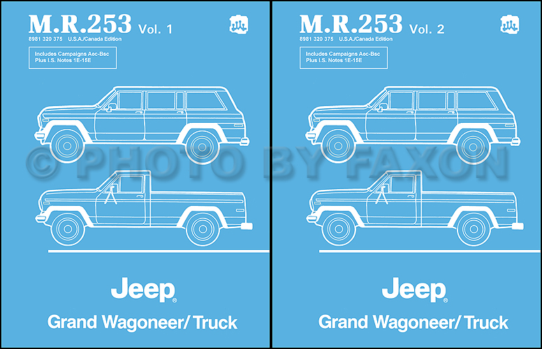 1984-1988 jeep grand wagoneer j10 j20 truck repair shop manual reprint mr253  faxon auto literature