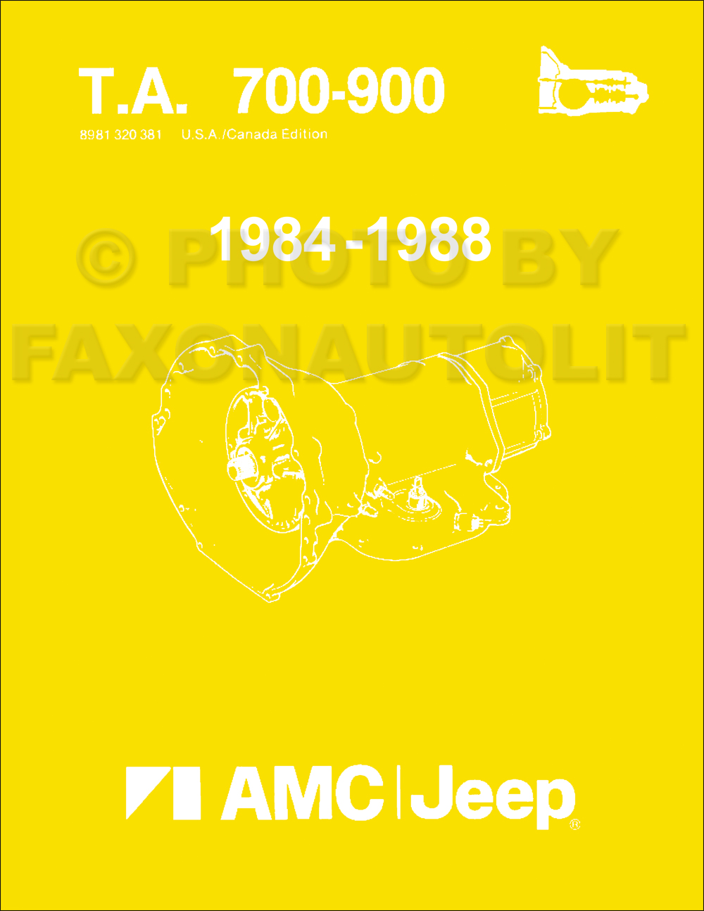 1984-1988 AMC and Jeep Automatic Transmission Overhaul Manual Reprint