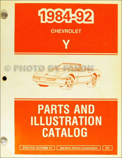 1984-1992 Chevrolet Corvette Parts Book Original
