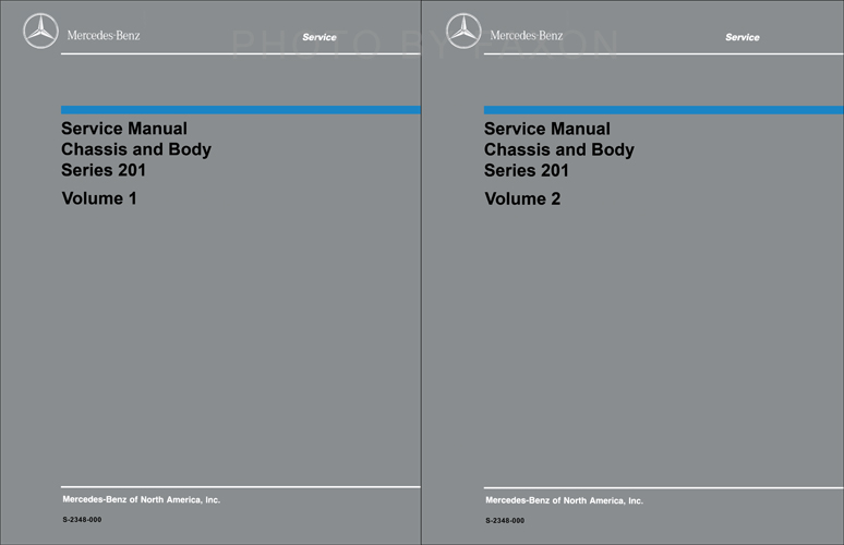 1984-1993 Mercedes 201 Chassis/Body Repair Shop Manual Reprint 2 Volume Set 190D 190E