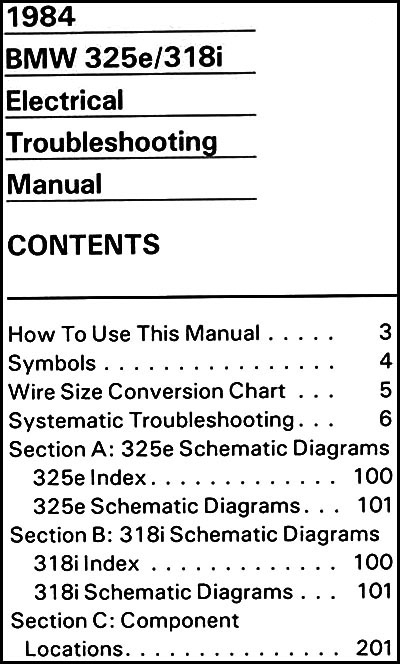 1984 BMW 325e 318i Electrical Troubleshooting Manual  Bmw E Wiring Diagrams on bmw 525i wiring diagram, 1988 bmw wiring diagram, 2003 bmw 325i wiring diagram, 2006 bmw wiring diagram, 1993 bmw wiring diagram,