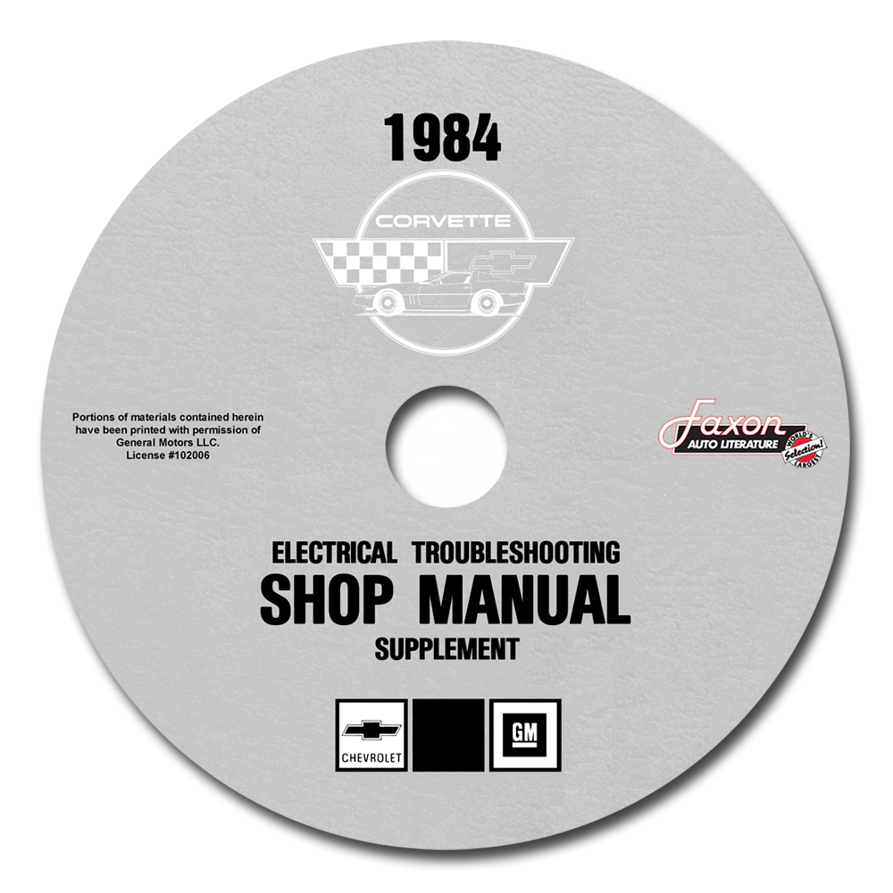 1984 Corvette Electrical Troubleshooting Shop Manual Reprint Supp on CD-ROM