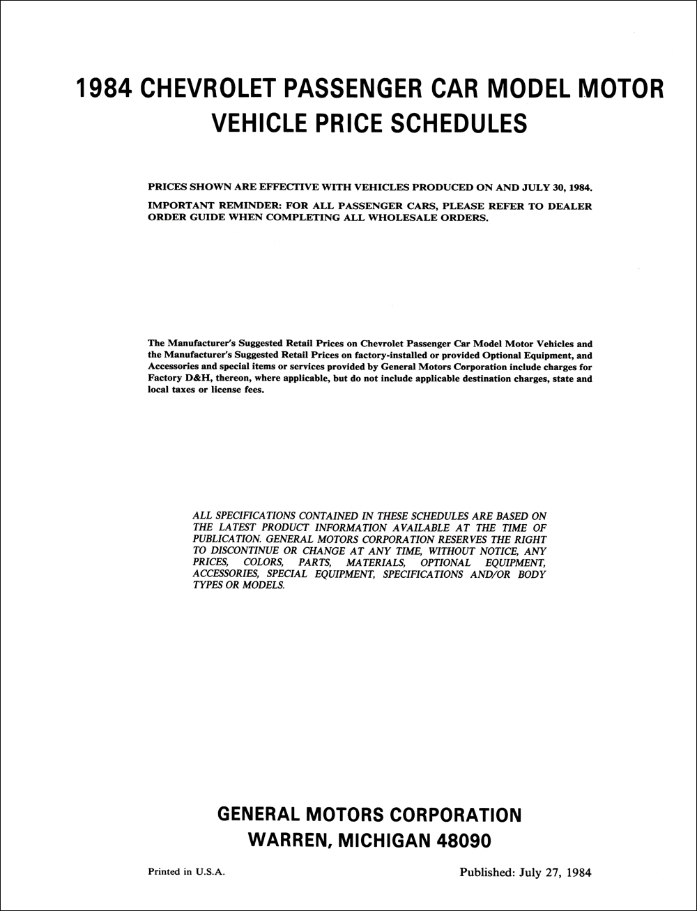 1984 Chevrolet Price Schedule Dealer Album Original