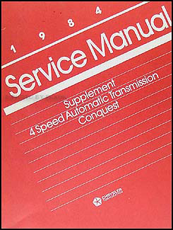 1984 Dodge Conquest 4 Speed Automatic Transmission Repair Shop Manual
