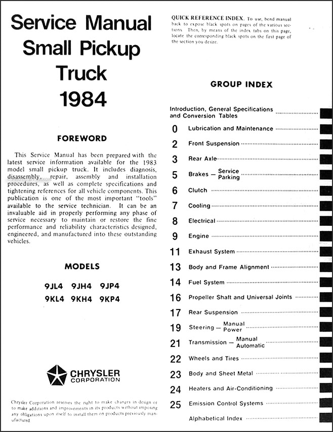 1984 dodge ram 50 truck shop manual original · table of contents