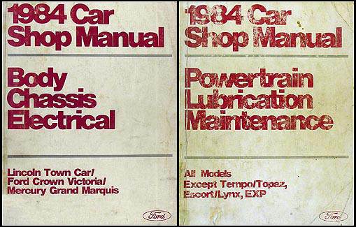 1984 FoMoCo Original Repair Shop Manual Vols A & D Crown Victoria, Town Car & Mark VII, Grand Marquis