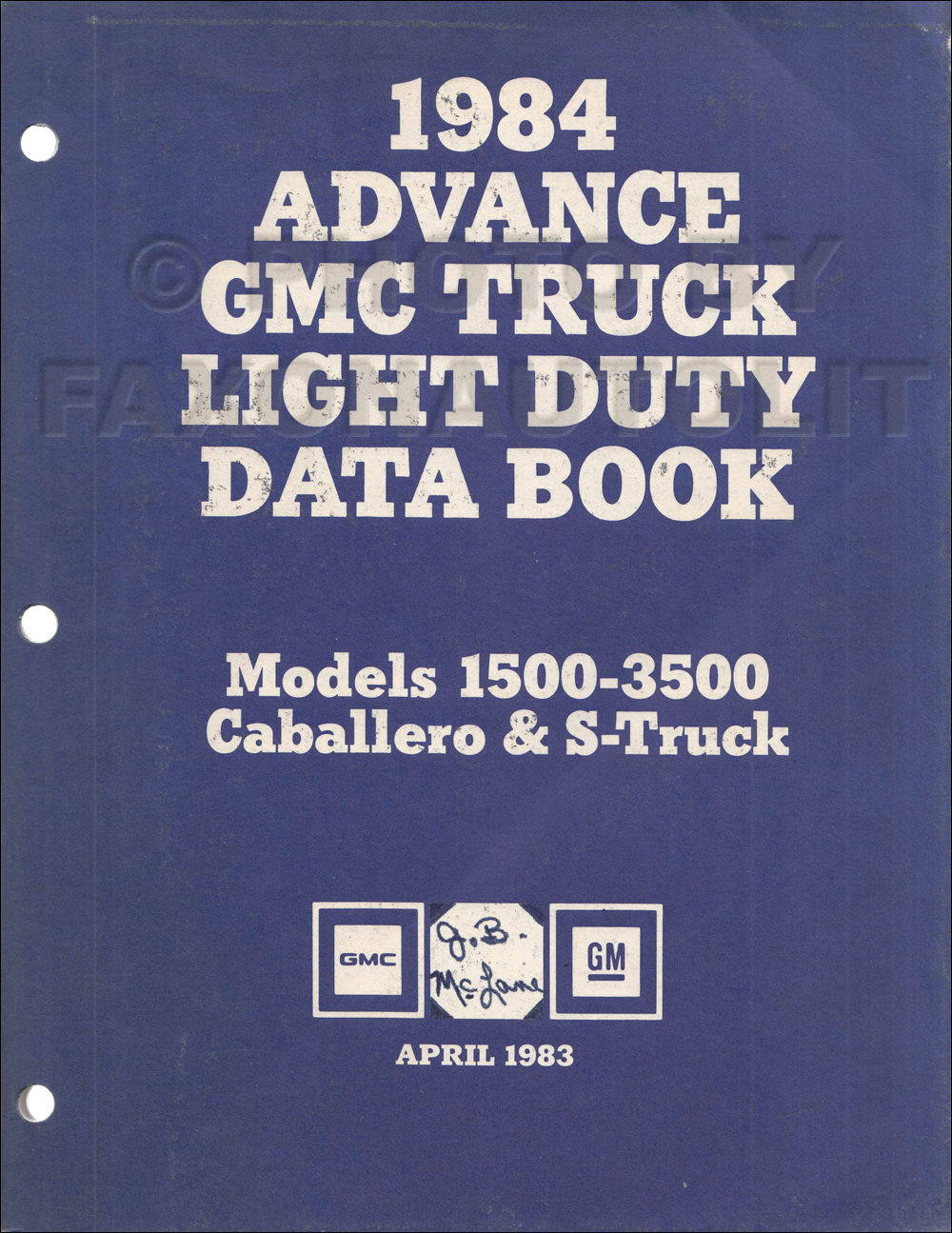 1984 GMC Advance Light Duty Data Book Original