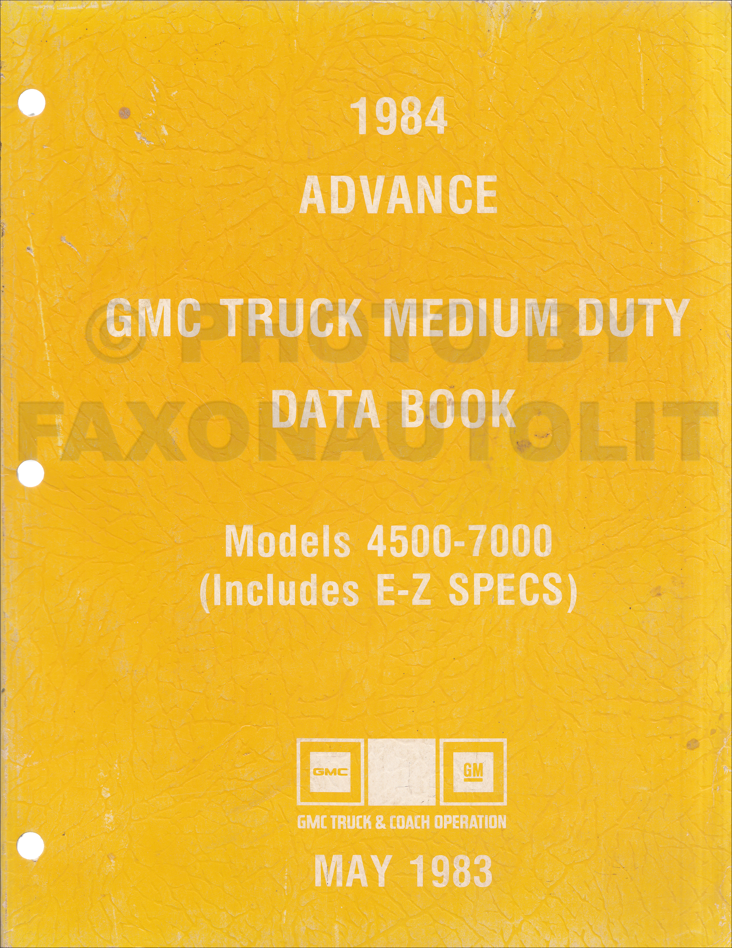 1984 GMC Medium Duty Advance Data Book Original