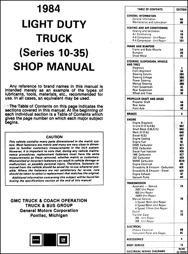 1984 GMC Truck Repair Shop Manual Original Pickup Jimmy Suburban Van  Gmc Truck Wiring Diagram on gmc truck electrical wiring diagrams, 1984 chevy ac electric diagrams, gmc truck fuse diagrams, 1984 gmc heater wiring diagram, 2010 gmc light diagrams, 1984 gmc wiring diagram light, 2001 gmc sierra wiring diagrams,