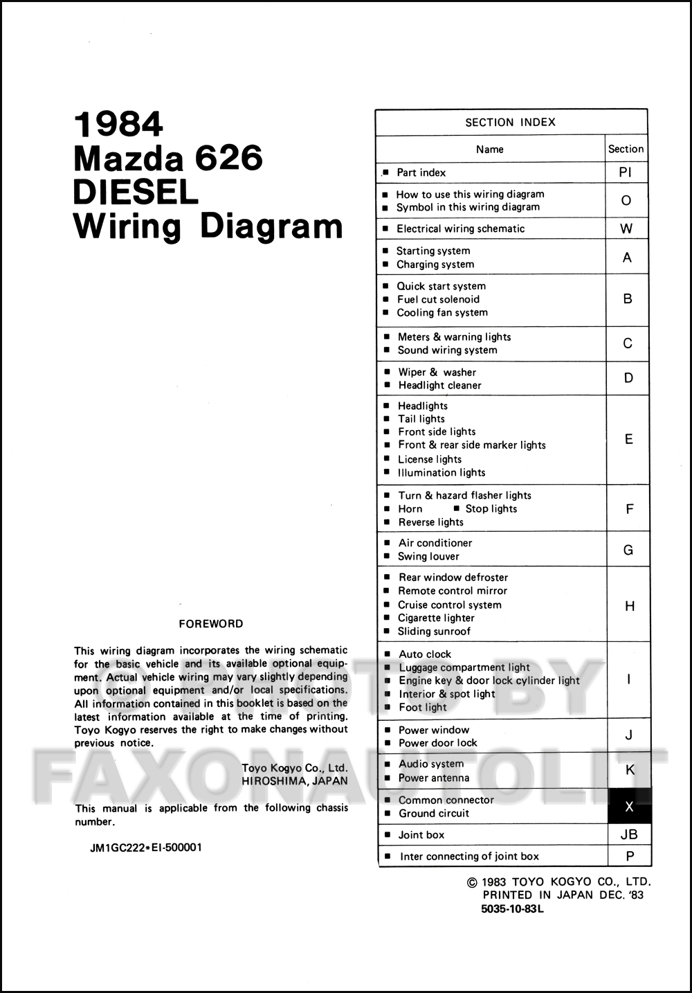 1984 Mazda 626 Diesel Wiring Diagram Manual Original Electrical Click On Thumbnail To Zoom