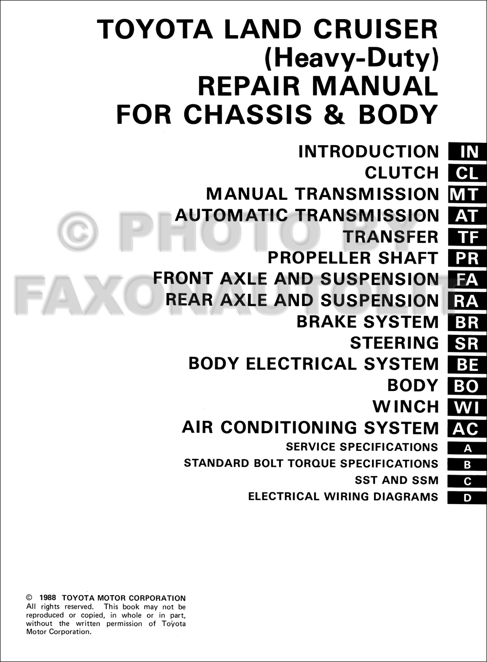 1984 Toyota Land Cruiser Chassis Body Repair Shop Manual Original Hd Wiring Diagram Fj60 1985 Click On Thumbnail To Zoom