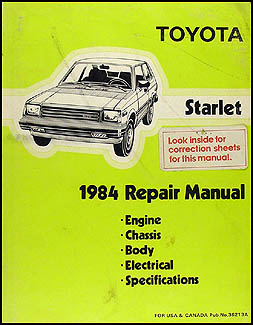 1984 Toyota Starlet Repair Manual Original