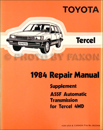 1984 Toyota Tercel 4WD Automatic Transmission Shop Manual Supplement Original