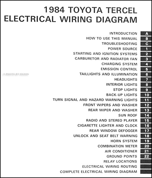 1984 Toyota Tercel Wiring Diagram Manual Original