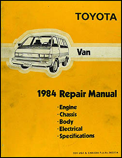 1984 Toyota Van Repair Manual Original