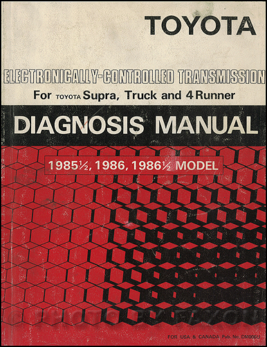 1985-1986 Toyota Automatic Transmission Diagnosis Manual Truck 4Runner 86.5 Supra