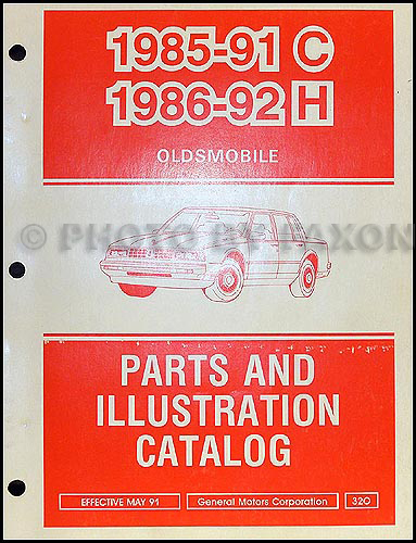 1985-1991 Oldsmobile 98 and 1986-1992 88 Parts Book Original
